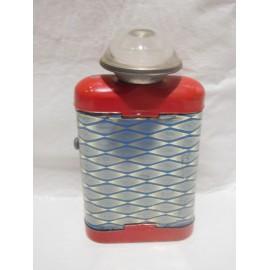 Linterna de petaca. Años 50. Litografiada en azul y rojo.