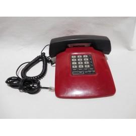 Telefono vintage americano en rojo y negro funcionando.
