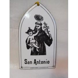 Antigua placa esmaltada de San Antonio Cervero.  Zaragoza. Años 40-50