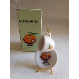 Platito y tacita del Naranjito en caja mundial 82 miniatura