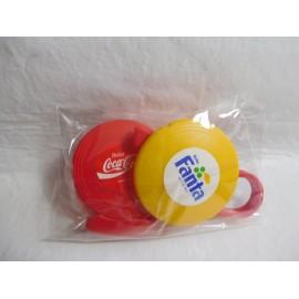 Discos mini frisbees con lanzador de Fanta limón, naranja y Coca cola. Años 80. Premium