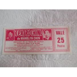 Preciosa entrada Circo Teatro Chino de Manolita Chen. Años 60.
