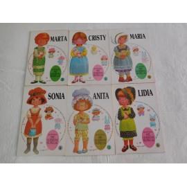 Lote de seis cuadernos antiguos con recortables de muñecas. Años 70. Bruguera