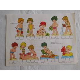Recortable de niños jugando años 70. Nuevos. Editorial Roma.