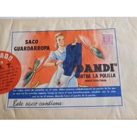 Antigua bolsa guarda ropa Dandi antipolillas. Años 50 con etiqueta ilustrada