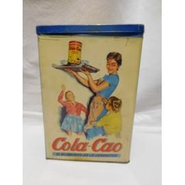 Lata de Cola Cao Colacao. Años 60. En color azul para pasta. Tapa suelta.