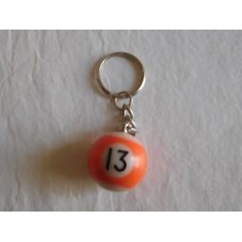 Llavero bola de billar naranja numero 13 años 80