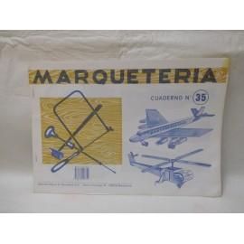 Antiguo cuaderno de marquetería. Nº 35, avión y helicoptero.