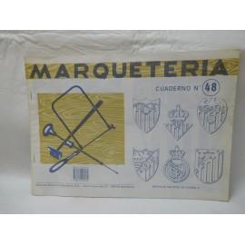 Antiguo cuaderno de marquetería. Nº 48, Escudos de futbol
