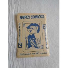 Sobre de cromos o cartas Naipes Cómicos. Año 1971. San Sebastian. Nunca abierto, con contenido.
