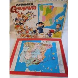 Juego Estudiando Geografía de España. Juguete PSE. Funcionando. Años 60-70.