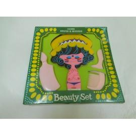 Divertido juego de tocador para niñas con espejo y peines. Beauty Set. Años 70. Versión india.