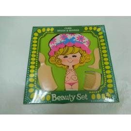 Divertido juego de tocador para niñas con espejo y peines. Beauty Set. Años 70. Versión rubia.