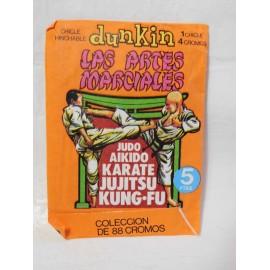 Sobre de cromos Las Artes Marciales Dunkin años 70. Sin abrir.