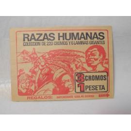 Sobre de cromos del album Razas Humanas editado por Bruguera. Sin abrir.