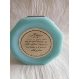Antigua frasco tarro de crema Klytia en cristal opalina azul y tapa en baquelita negra. Años 50.