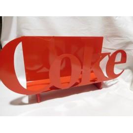 Precioso revistero Coke Coca Cola años 80 con letras recortadas en metal