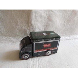 Lata en forma de camión de Coca Cola con Santa Claus. Nuevo en su caja.