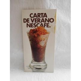 Publicidad Carta de Verano Nescafe. Año 1979. Desplegable para preparar recetas con café frío.