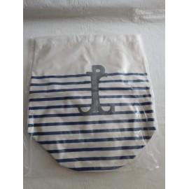 Mochila en forma de saco marinero a rayas Jean Paul Gaultier. Le Male. Nuevo.