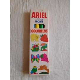 Bonita cajita promocional detergente Ariel, con pinturas tipo plastidecor. Años 80.