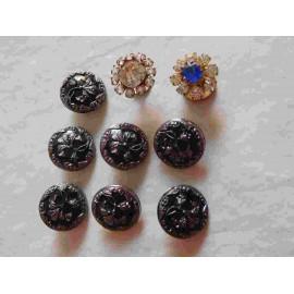 Magnífico lote de 9 botones únicos años 20. Botones art deco.