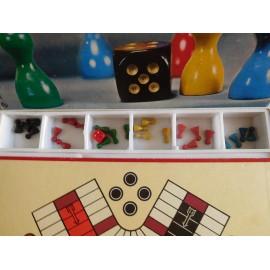 Juego de mesa das Beliebte wurfelspiel años 70 con fichas en madera tipo Nac y dado