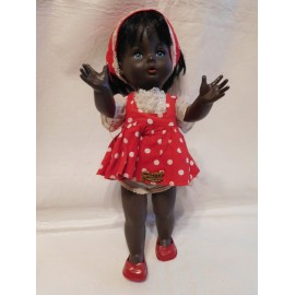 Magnifica muñeca italiana de la marca Ratti. Muñeca negra. Ropa y zapatos originales. Años 50-60