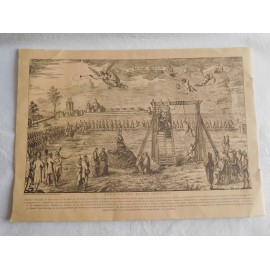 Grabado original  Exemplo de Mayor Heroismo Barcelona 1809 . Dibujo  Buenaventura Planella
