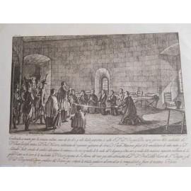Grabado original  Conspiración contra los franceses en Barcelona 1809 . Dibujo  Buenaventura Planella 1815