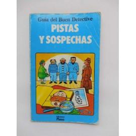 Libro editorial Plesa SM. Guia del Buen Detective. Pistas y Sospechas. Años 80.