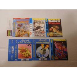 Caractulas juegos Amstrad: Plaga Galactica, Álmirante, Donkey Kone, Tapget, 1942 y Rambo III