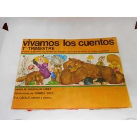 Libro de fichas Vivamos los cuentos. 1º trimestre. Casals. Preescolar 1980. 1º edición.