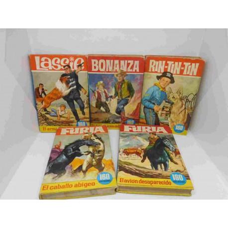 Lote de 5 libro comic Colección Heroes. Bruguera. Rin-tin-tin, Furia, Bonanza y Lassie.