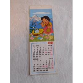 Bonito Calendario Postal de Heidi. Marzo-Abril 1976. Original. Plastificado.