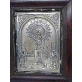 Cuadro en orfebrería plateado de la Virgen del Pilar. Principios del siglo XX. Alfoso XIII.