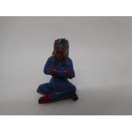 Figura jefe indio sentado. Goma. Años 50. Fabricado por gama. Ref 37.