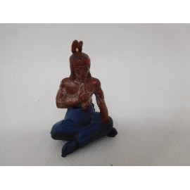 Figura jefe indio sentado. Goma. Años 50. Fabricado por gama. Ref 36.