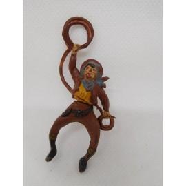 Figura vaquero con lazo. Goma. Años 50. Fabricado por gama. Ref 22.