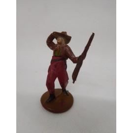Figura vaquero con escopeta y mano en sombrero. Goma. Años 50. Fabricado por gama. Ref 14.