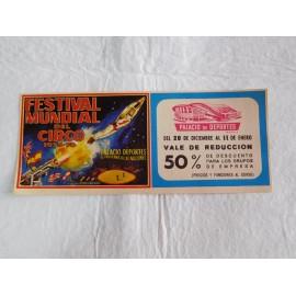 Preciosa entrada Festival Mundial del Circo 1975-1976. Palacios de los deportes de Madrid.