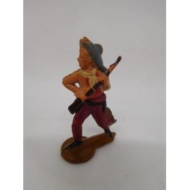 Figura vaquero con escopeta recogida. Goma. Años 50. Fabricado por gama. Ref 9.