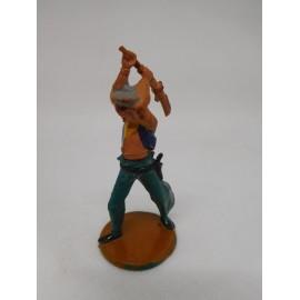 Figura vaquero con escopeta levantada. Goma. Años 50. Fabricado por gama. Ref 7.
