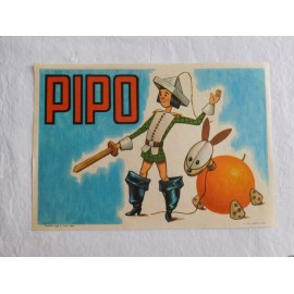 Etiqueta antigua de Naranjas de Valencia PIPO. Año 1964.