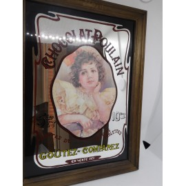 Bonito espejo serigrafiado publicitario chocolates Chocolat Poulain.