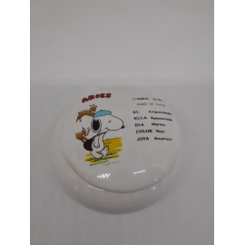 Joyero joyerito de porcelana años 80 de Snoopy signo zodiacal Aries.
