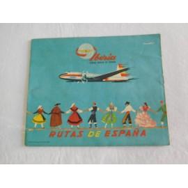 Bonito folleto turístico de IBERIA, lineas aéreas de España. Con 5 rutas. Año 1960.
