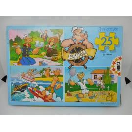 Caja de 3 puzzles Educa de Poepeye. Año 1989.