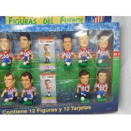 Caja con figuras de futbolistas Atlético de Madrid. Bandai. 1996-1997.