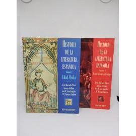 Libros Historia Literatura Española Vol I y II Edad Media, Renacimiento y Barroco. Everest. 1993.